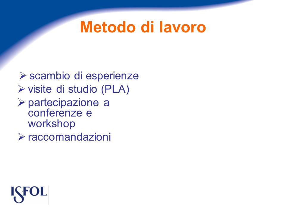 Metodo di lavoro scambio di esperienze visite di studio (PLA) partecipazione a conferenze e workshop raccomandazioni