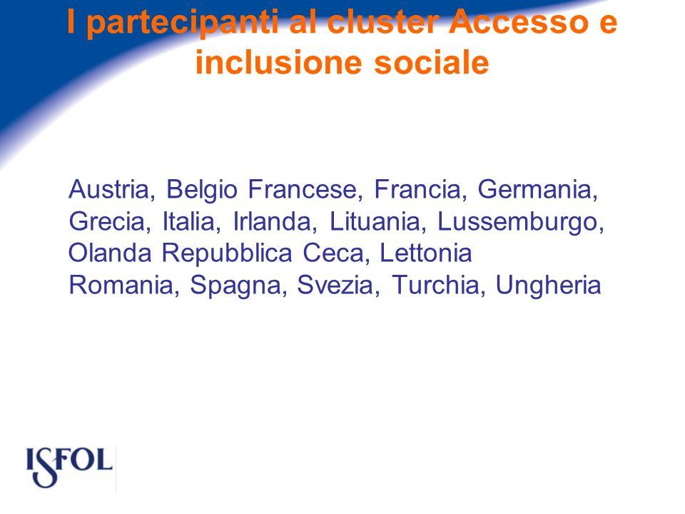 I partecipanti al cluster Accesso e inclusione sociale Austria, Belgio Francese, Francia, Germania, Grecia, Italia, Irlanda, Lituania, Lussemburgo, Olanda Repubblica Ceca, Lettonia Romania, Spagna, Svezia, Turchia, Ungheria