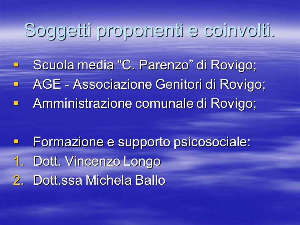 Soggetti proponenti e coinvolti. Scuola media C. Parenzo di Rovigo; Scuola media C. Parenzo di Rovigo; AGE - Associazione Genitori di Rovigo; AGE - As