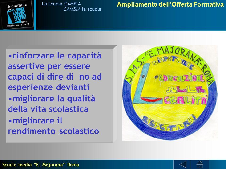 Ampliamento dellOfferta Formativa La scuola CAMBIA CAMBIA la scuola La scuola media E.