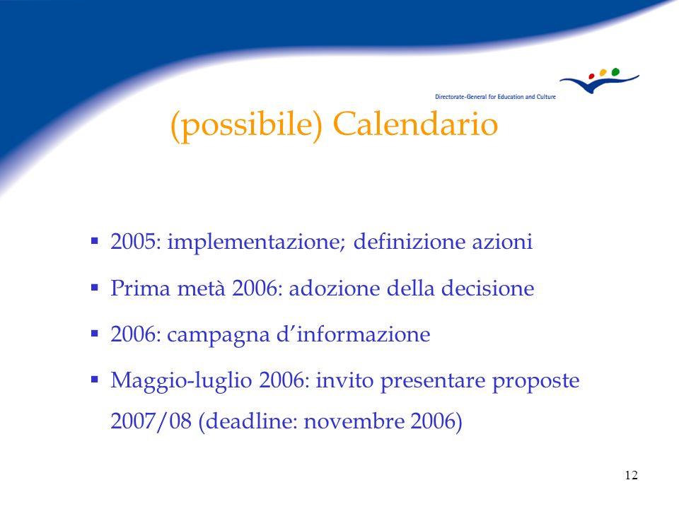 12 (possibile) Calendario 2005: implementazione; definizione azioni Prima metà 2006: adozione della decisione 2006: campagna dinformazione Maggio-luglio 2006: invito presentare proposte 2007/08 (deadline: novembre 2006)