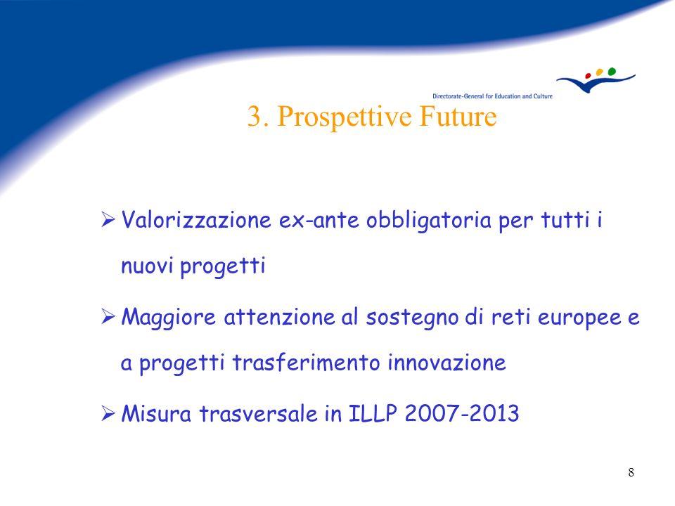 8 3. Prospettive Future Valorizzazione ex-ante obbligatoria per tutti i nuovi progetti Maggiore attenzione al sostegno di reti europee e a progetti tr