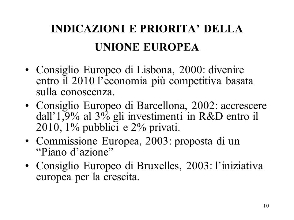 10 INDICAZIONI E PRIORITA DELLA UNIONE EUROPEA Consiglio Europeo di Lisbona, 2000: divenire entro il 2010 leconomia più competitiva basata sulla conoscenza.