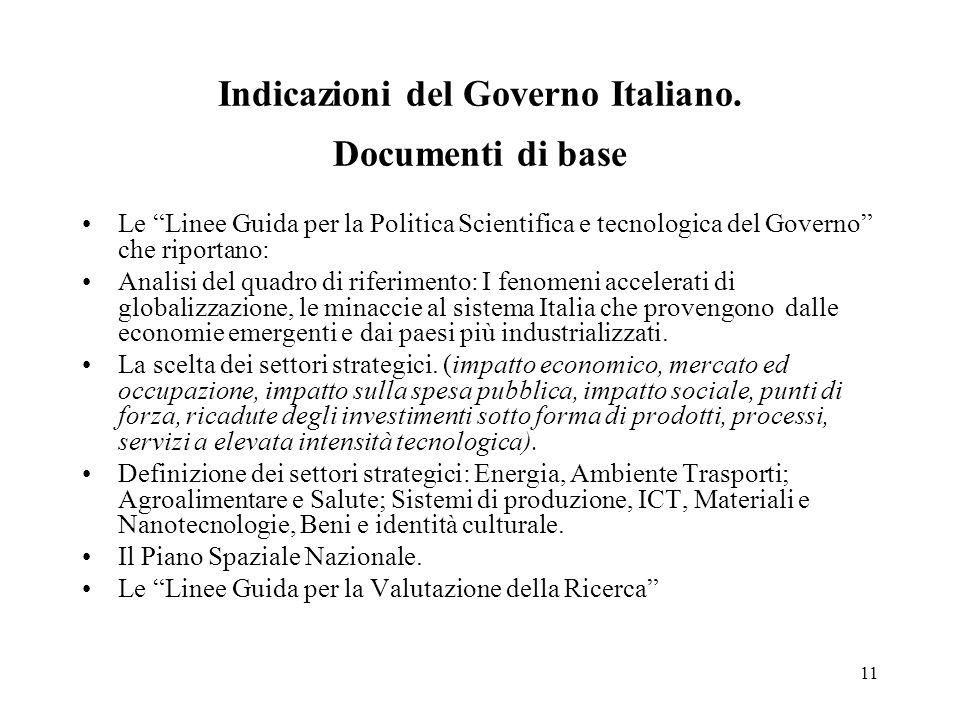 11 Indicazioni del Governo Italiano.