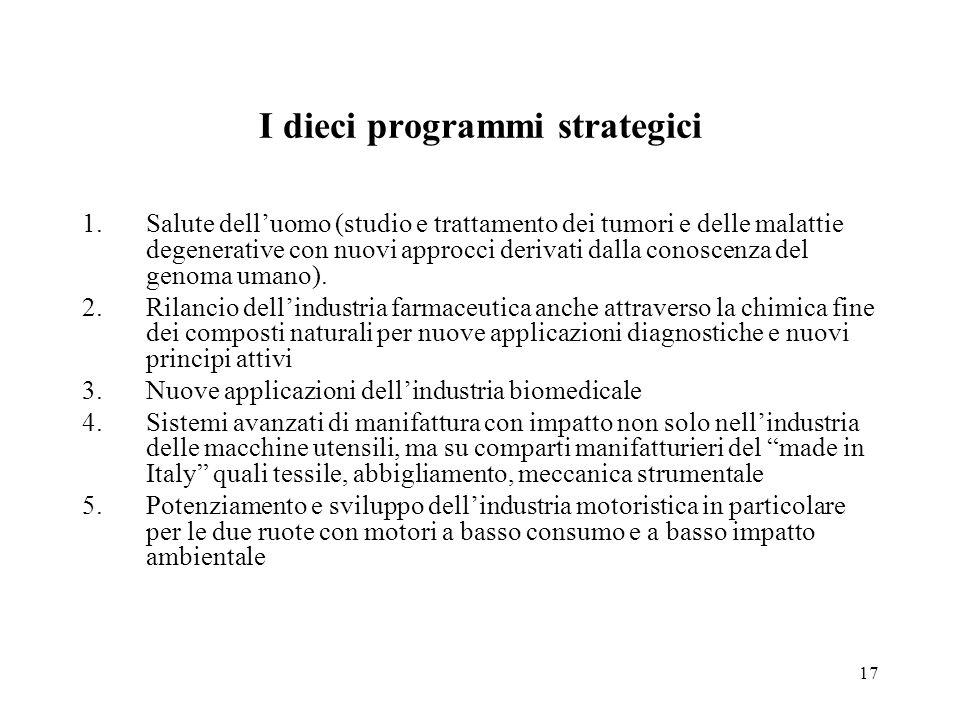 17 I dieci programmi strategici 1.Salute delluomo (studio e trattamento dei tumori e delle malattie degenerative con nuovi approcci derivati dalla conoscenza del genoma umano).