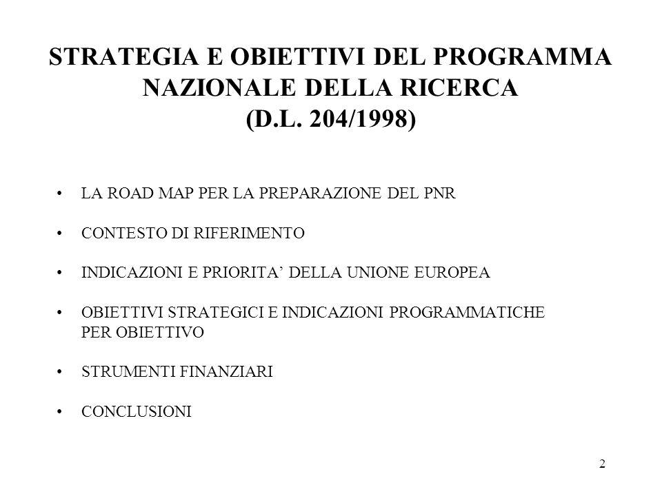 2 STRATEGIA E OBIETTIVI DEL PROGRAMMA NAZIONALE DELLA RICERCA (D.L.