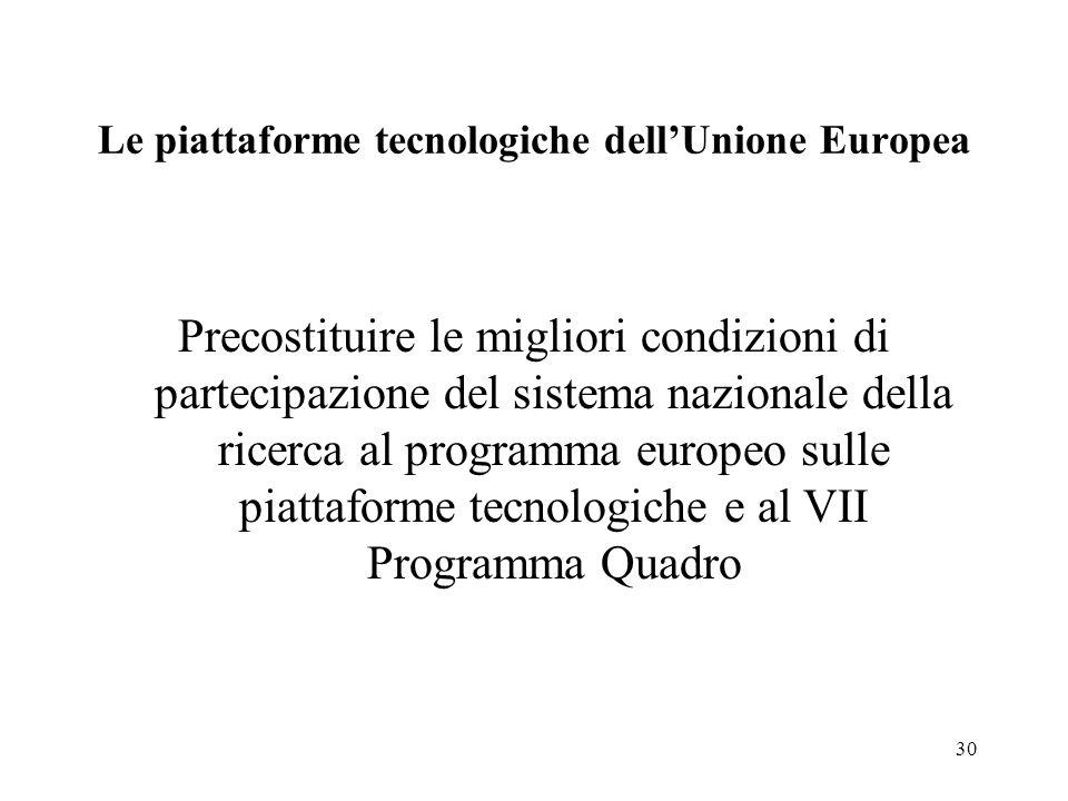 30 Le piattaforme tecnologiche dellUnione Europea Precostituire le migliori condizioni di partecipazione del sistema nazionale della ricerca al programma europeo sulle piattaforme tecnologiche e al VII Programma Quadro