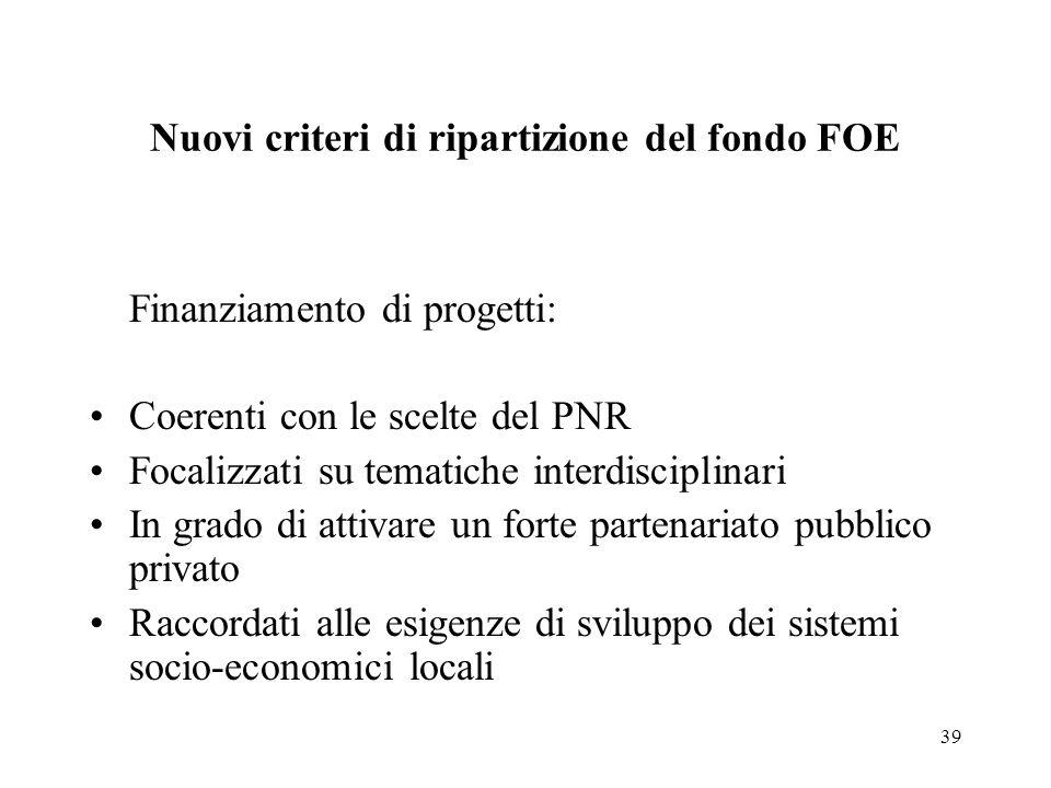 39 Nuovi criteri di ripartizione del fondo FOE Finanziamento di progetti: Coerenti con le scelte del PNR Focalizzati su tematiche interdisciplinari In grado di attivare un forte partenariato pubblico privato Raccordati alle esigenze di sviluppo dei sistemi socio-economici locali