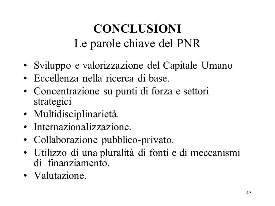 43 CONCLUSIONI Le parole chiave del PNR Sviluppo e valorizzazione del Capitale Umano Eccellenza nella ricerca di base.