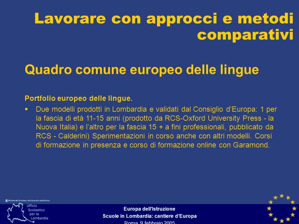 Europa dellIstruzione Scuole in Lombardia: cantiere dEuropa Roma, 9 febbraio 2005 Quadro comune europeo delle lingue Lavorare con approcci e metodi comparativi Portfolio europeo delle lingue.
