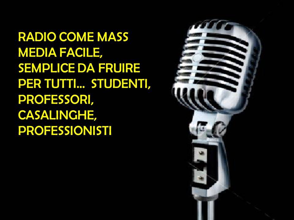 RADIO COME MASS MEDIA FACILE, SEMPLICE DA FRUIRE PER TUTTI… STUDENTI, PROFESSORI, CASALINGHE, PROFESSIONISTI