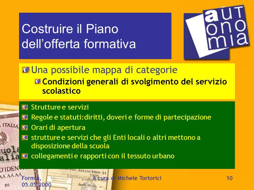Formia, 05.05.2000 A cura di Michele Tortorici10 Costruire il Piano dellofferta formativa Una possibile mappa di categorie Condizioni generali di svol