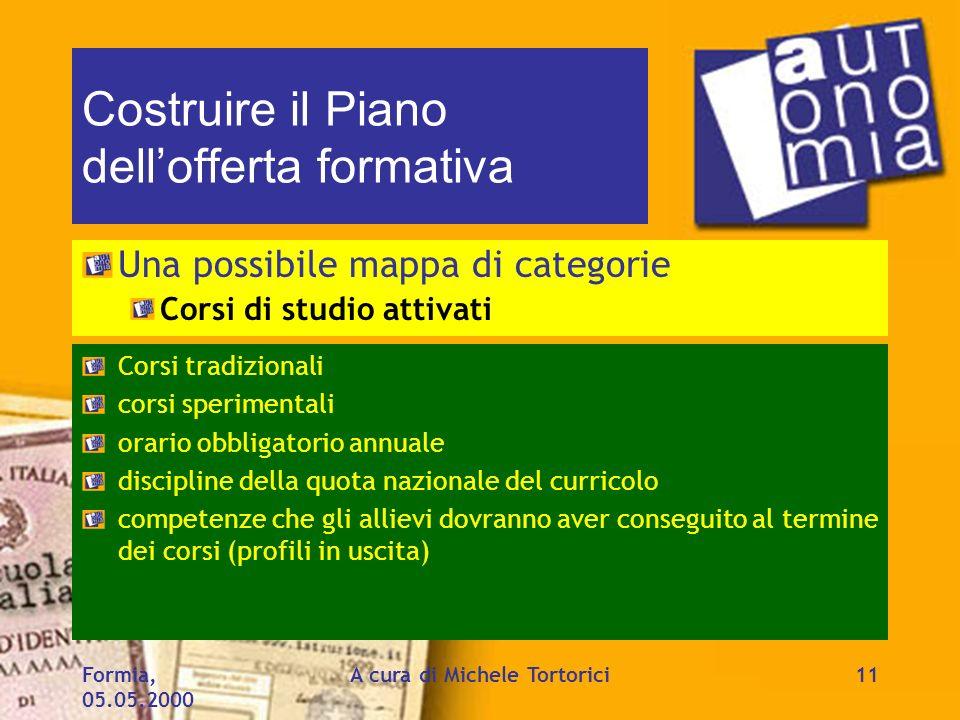 Formia, 05.05.2000 A cura di Michele Tortorici11 Costruire il Piano dellofferta formativa Una possibile mappa di categorie Corsi di studio attivati Co