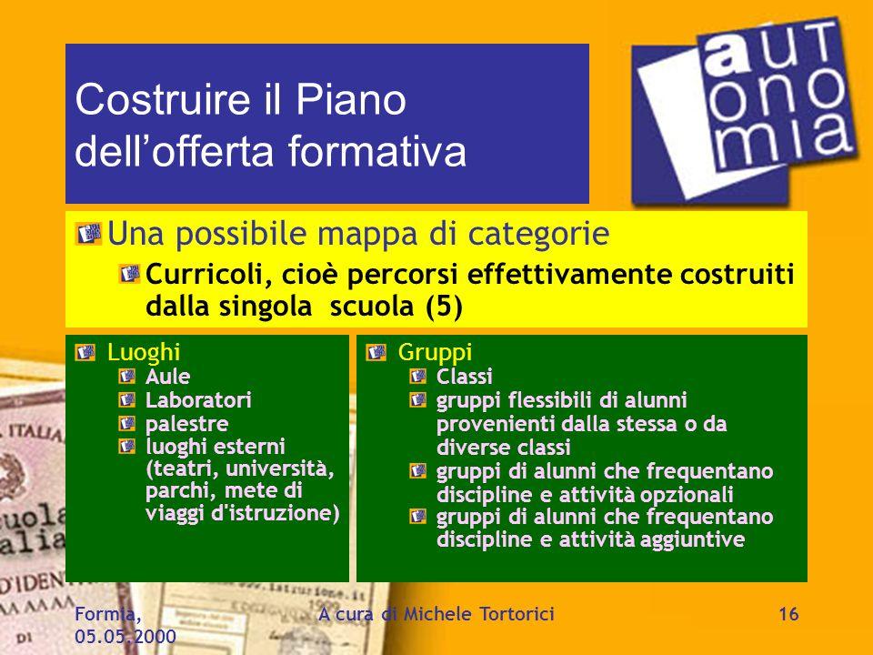 Formia, 05.05.2000 A cura di Michele Tortorici16 Costruire il Piano dellofferta formativa Una possibile mappa di categorie Curricoli, cioè percorsi ef