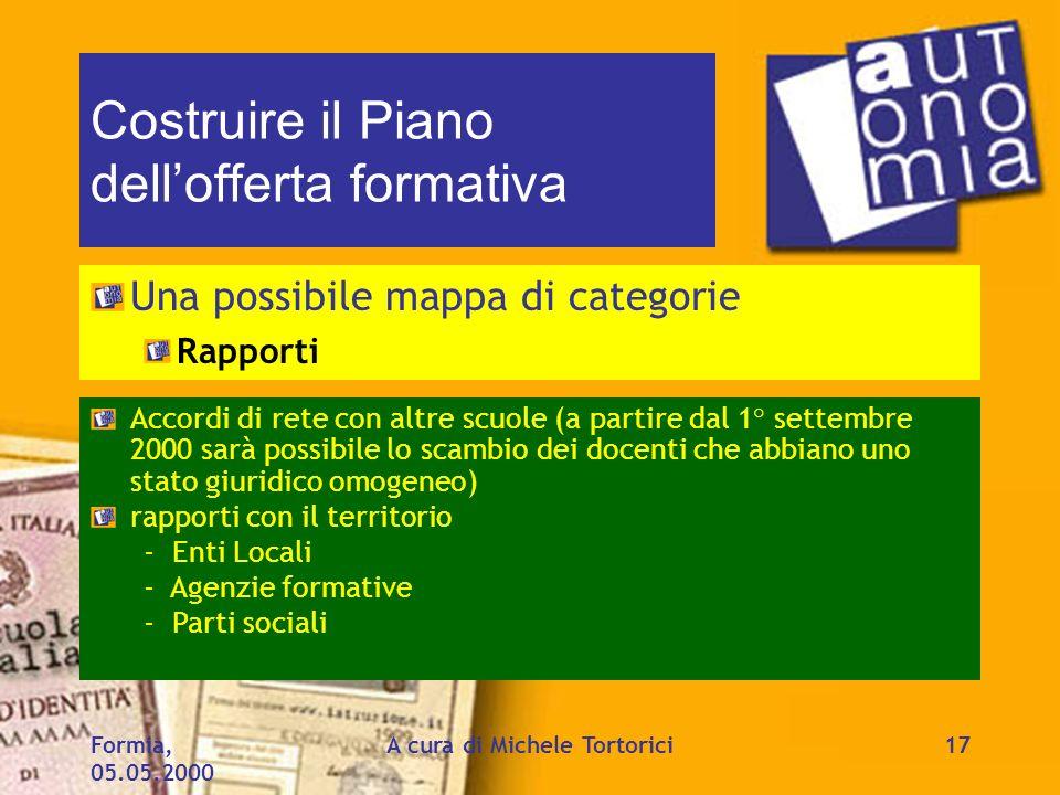 Formia, 05.05.2000 A cura di Michele Tortorici17 Costruire il Piano dellofferta formativa Una possibile mappa di categorie Rapporti Accordi di rete co