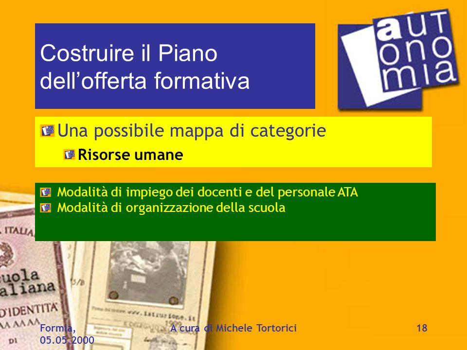 Formia, 05.05.2000 A cura di Michele Tortorici18 Costruire il Piano dellofferta formativa Una possibile mappa di categorie Risorse umane Modalità di i