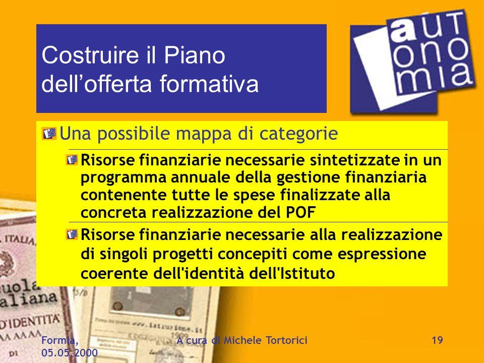 Formia, 05.05.2000 A cura di Michele Tortorici19 Costruire il Piano dellofferta formativa Una possibile mappa di categorie Risorse finanziarie necessa