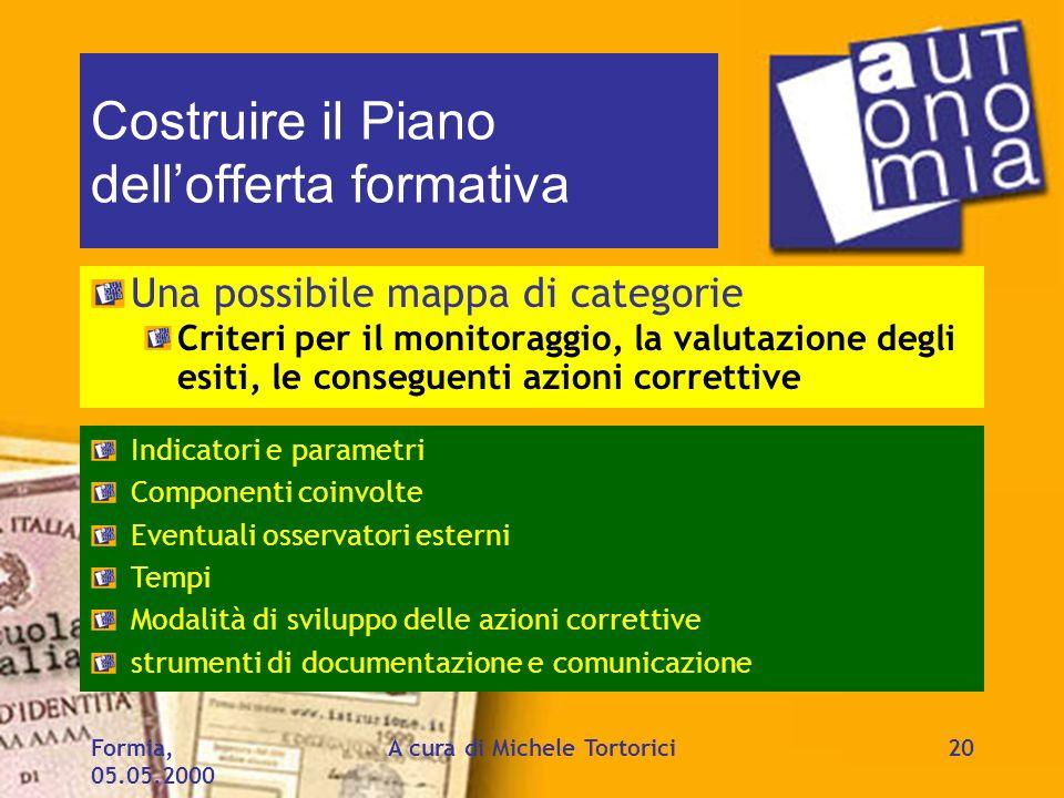 Formia, 05.05.2000 A cura di Michele Tortorici20 Costruire il Piano dellofferta formativa Una possibile mappa di categorie Criteri per il monitoraggio