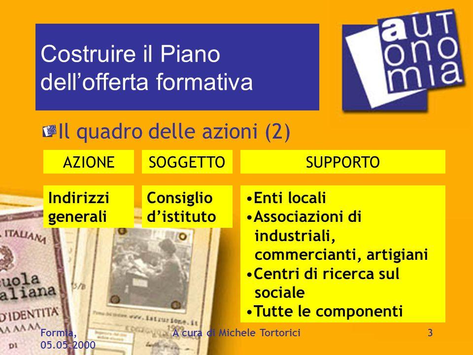 Formia, 05.05.2000 A cura di Michele Tortorici3 Costruire il Piano dellofferta formativa Il quadro delle azioni (2) AZIONESOGGETTOSUPPORTO Indirizzi g
