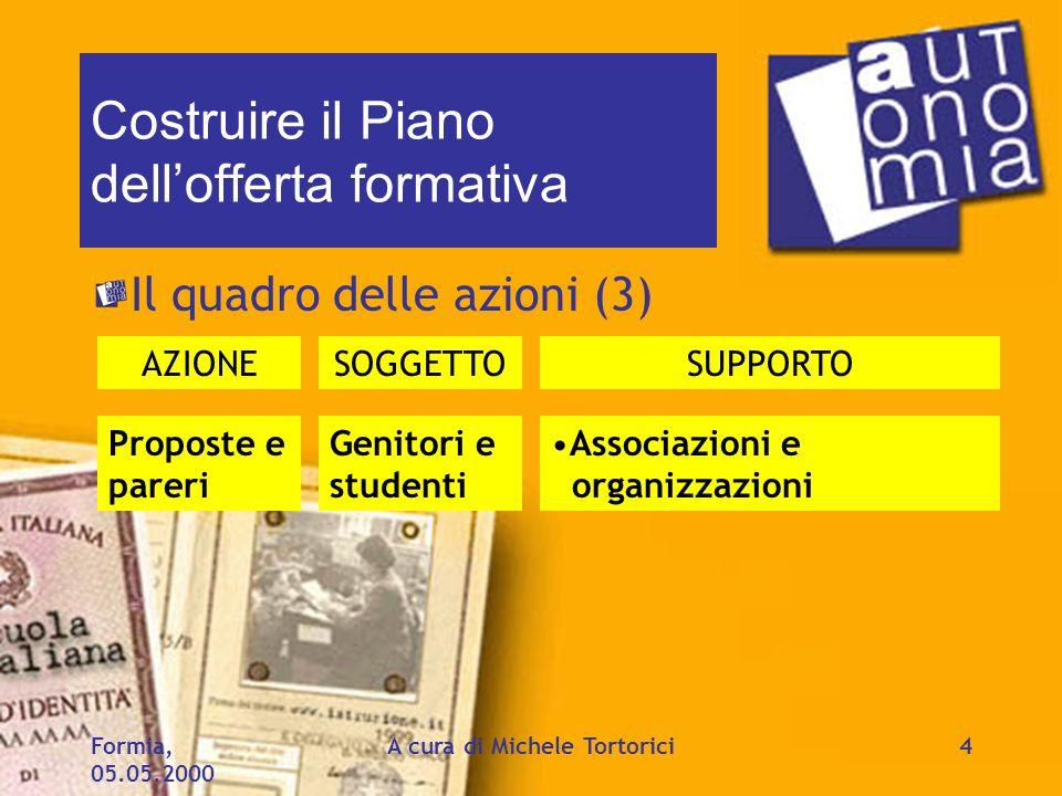 Formia, 05.05.2000 A cura di Michele Tortorici4 Costruire il Piano dellofferta formativa Il quadro delle azioni (3) AZIONESOGGETTOSUPPORTO Proposte e