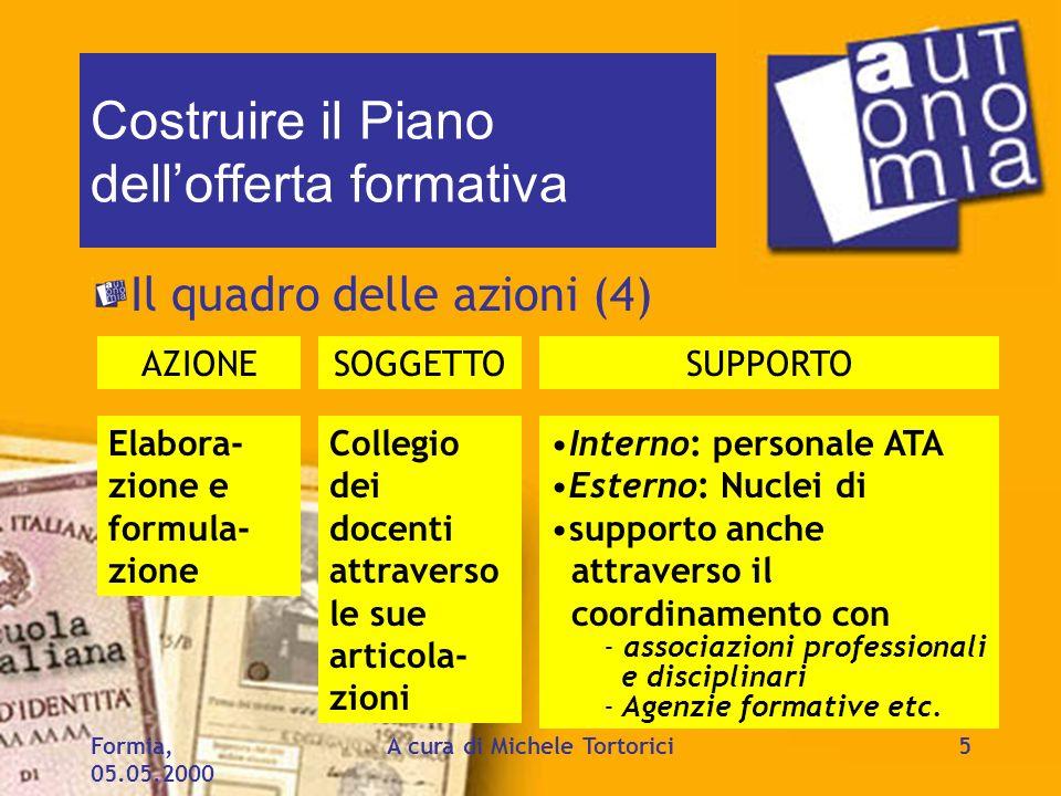 Formia, 05.05.2000 A cura di Michele Tortorici5 Costruire il Piano dellofferta formativa Il quadro delle azioni (4) AZIONESOGGETTOSUPPORTO Elabora- zi