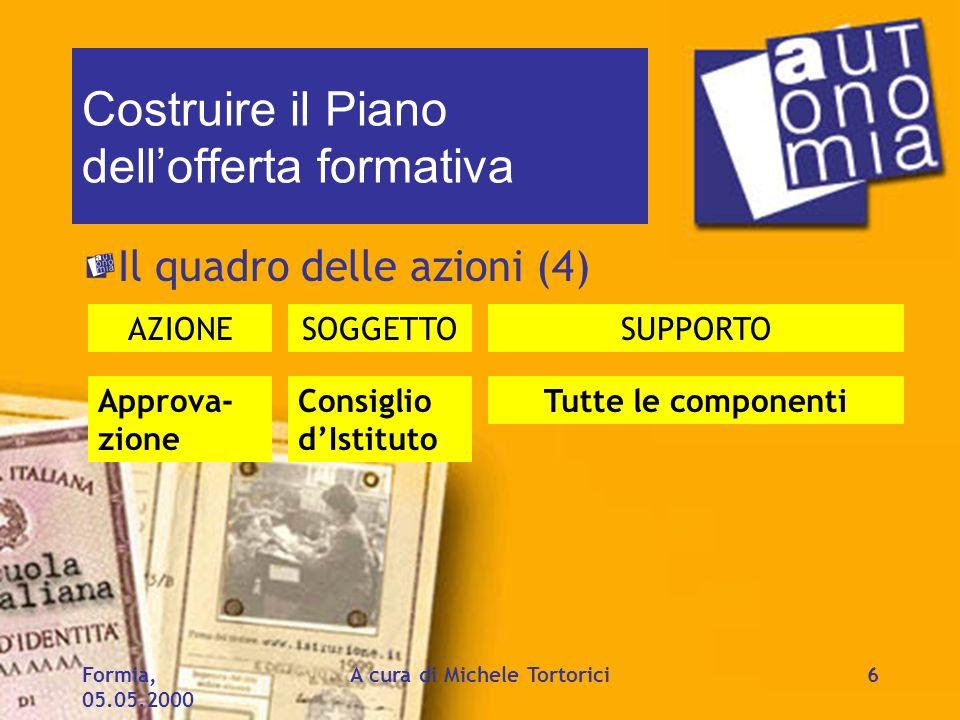 Formia, 05.05.2000 A cura di Michele Tortorici6 Costruire il Piano dellofferta formativa Il quadro delle azioni (4) AZIONESOGGETTOSUPPORTO Approva- zi