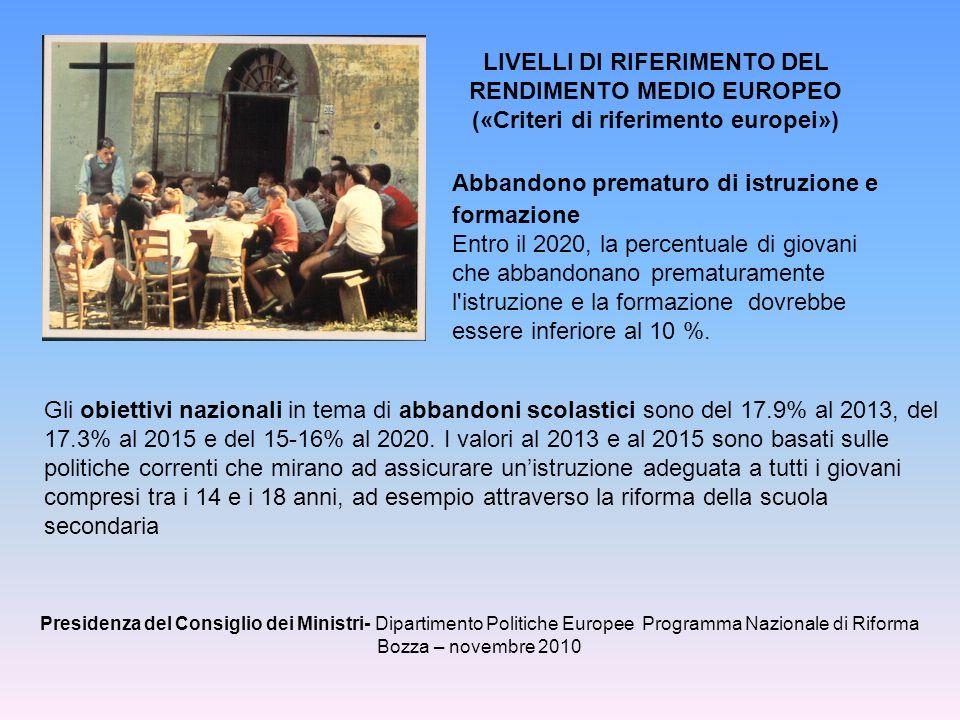 LIVELLI DI RIFERIMENTO DEL RENDIMENTO MEDIO EUROPEO («Criteri di riferimento europei») Abbandono prematuro di istruzione e formazione Entro il 2020, l