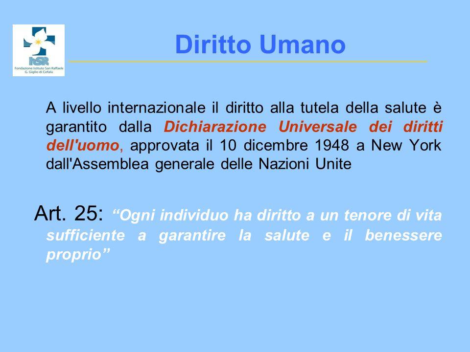 Tutela del diritto alla salute : Sistema Italiano E un principio fondamentale del cittadino (art.
