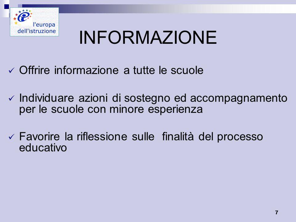 7 INFORMAZIONE Offrire informazione a tutte le scuole Individuare azioni di sostegno ed accompagnamento per le scuole con minore esperienza Favorire la riflessione sulle finalità del processo educativo