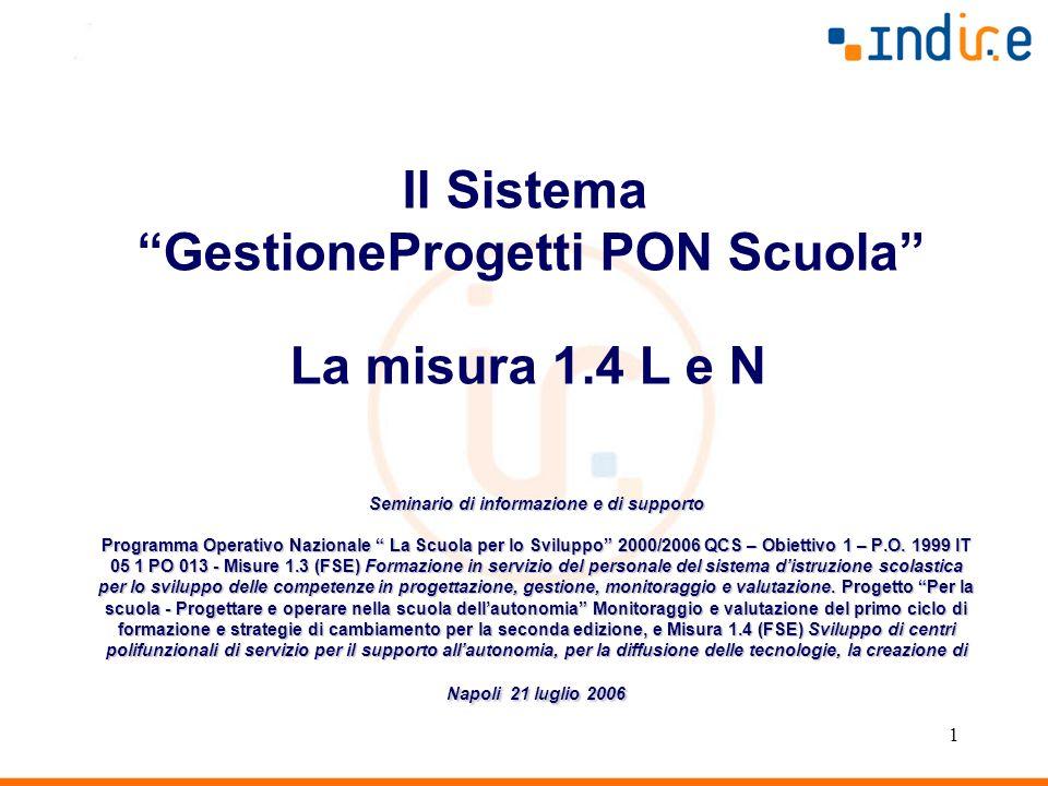 1 Seminario di informazione e di supporto Programma Operativo Nazionale La Scuola per lo Sviluppo 2000/2006 QCS – Obiettivo 1 – P.O. 1999 IT 05 1 PO 0