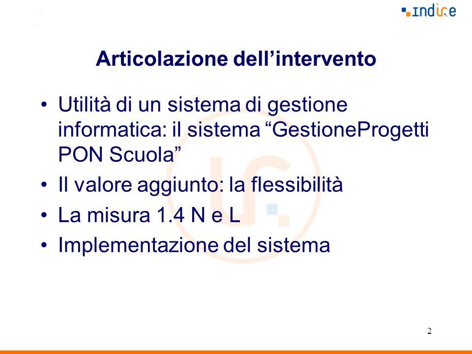 2 Articolazione dellintervento Utilità di un sistema di gestione informatica: il sistema GestioneProgetti PON Scuola Il valore aggiunto: la flessibili