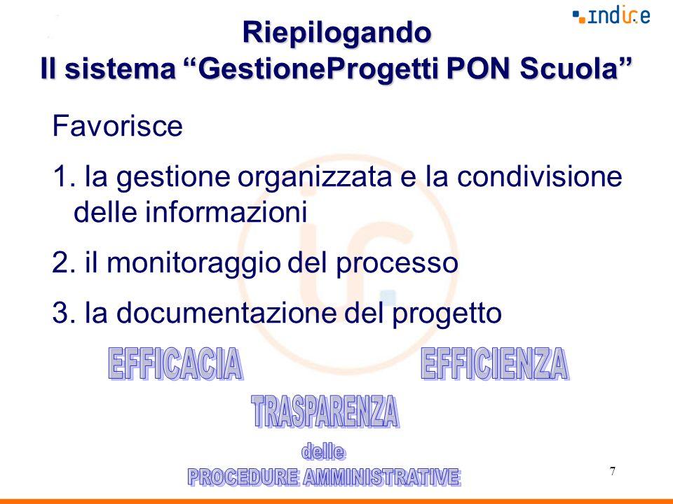 7 Riepilogando Il sistema GestioneProgetti PON Scuola Favorisce 1. la gestione organizzata e la condivisione delle informazioni 2. il monitoraggio del