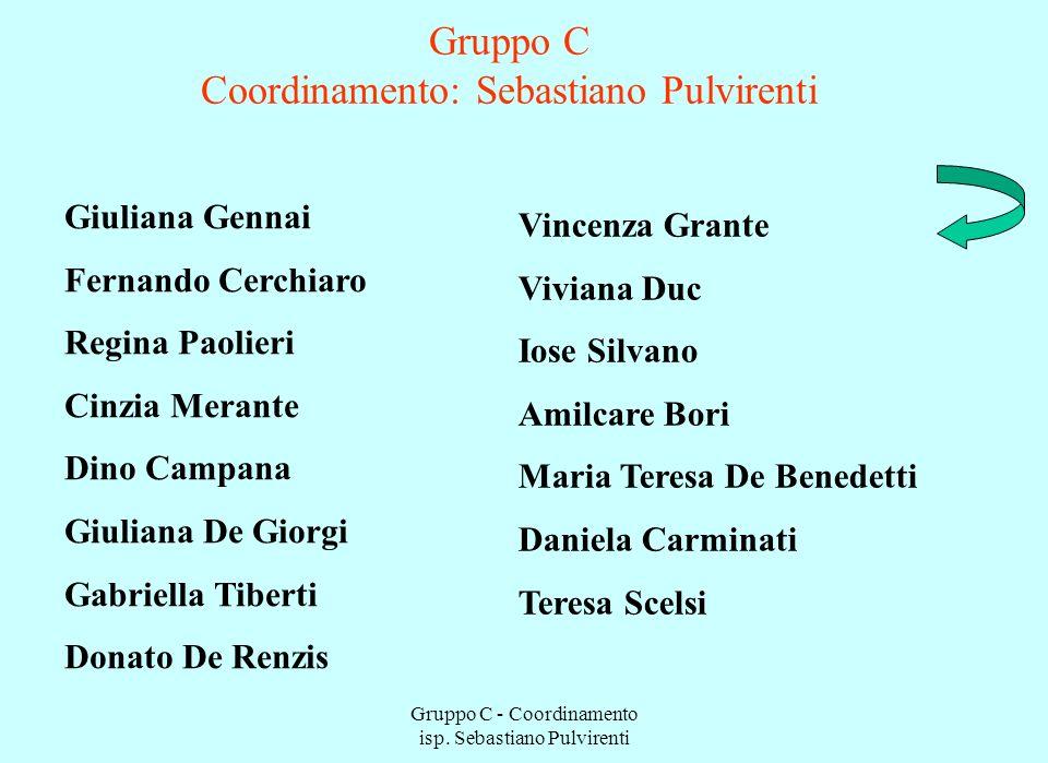 Gruppo C - Coordinamento isp. Sebastiano Pulvirenti Gruppo C Coordinamento: Sebastiano Pulvirenti Giuliana Gennai Fernando Cerchiaro Regina Paolieri C