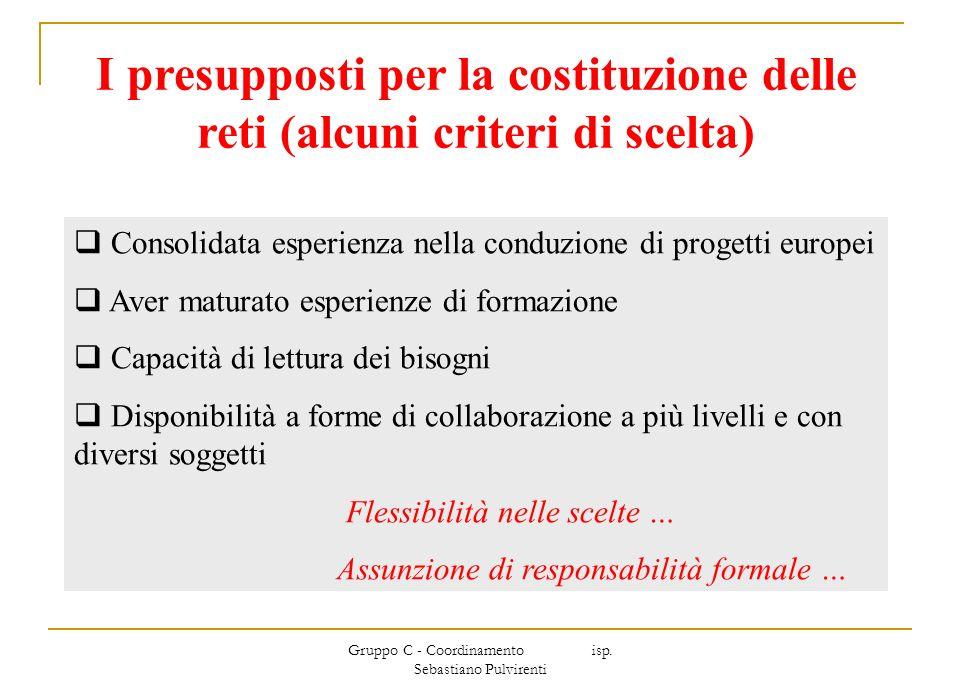 Gruppo C - Coordinamento isp. Sebastiano Pulvirenti I presupposti per la costituzione delle reti (alcuni criteri di scelta) Consolidata esperienza nel