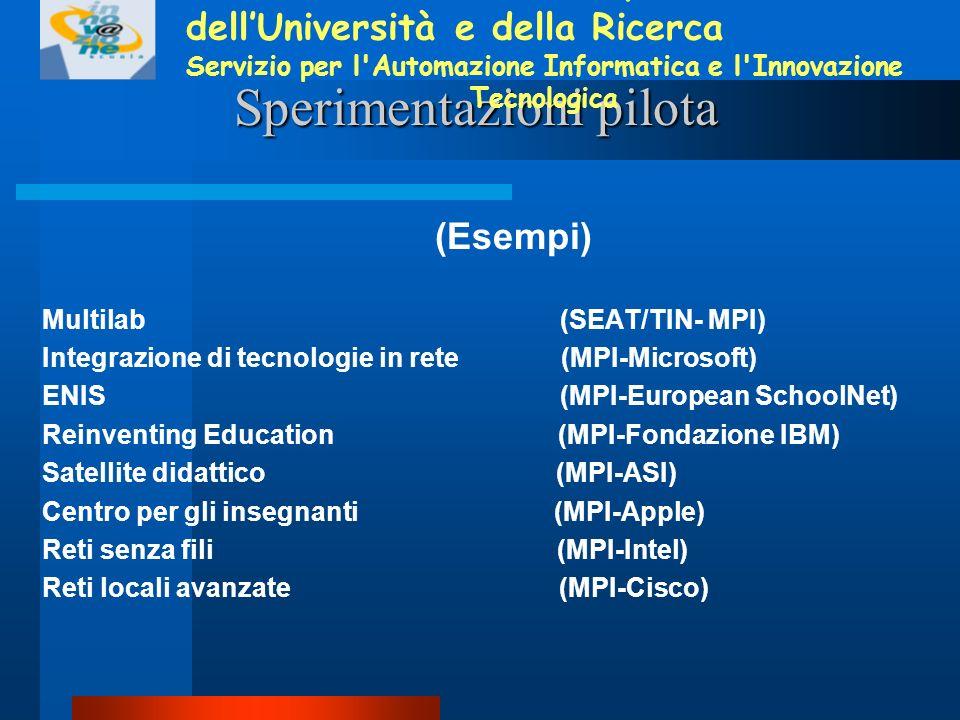 Sperimentazioni pilota (Esempi) Multilab (SEAT/TIN- MPI) Integrazione di tecnologie in rete (MPI-Microsoft) ENIS (MPI-European SchoolNet) Reinventing Education (MPI-Fondazione IBM) Satellite didattico (MPI-ASI) Centro per gli insegnanti (MPI-Apple) Reti senza fili (MPI-Intel) Reti locali avanzate (MPI-Cisco) Ministero dellIstruzione, dellUniversità e della Ricerca Servizio per l Automazione Informatica e l Innovazione Tecnologica