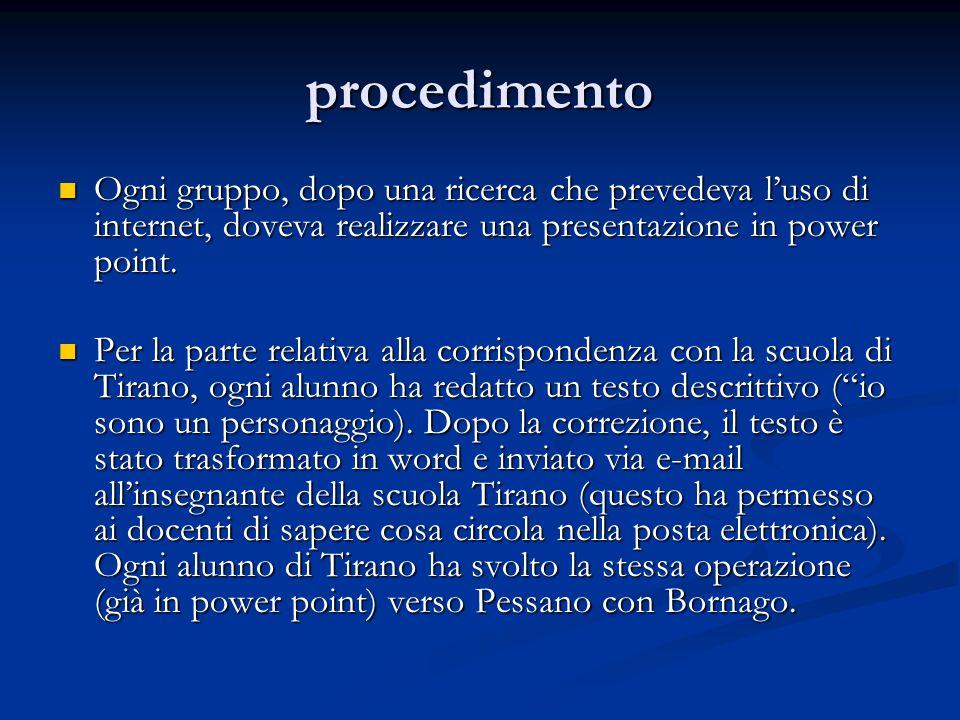 procedimento Ogni gruppo, dopo una ricerca che prevedeva luso di internet, doveva realizzare una presentazione in power point. Ogni gruppo, dopo una r