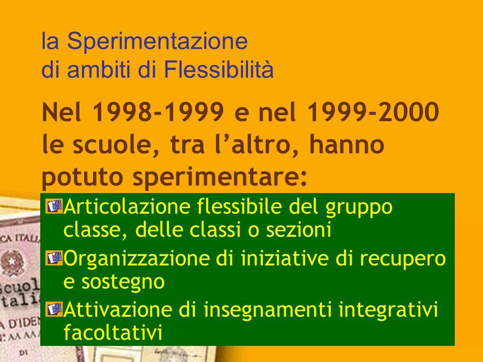 la Sperimentazione di ambiti di Flessibilità Articolazione flessibile del gruppo classe, delle classi o sezioni Organizzazione di iniziative di recupe