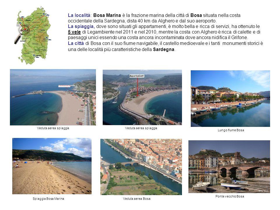La località: Bosa Marina è la frazione marina della città di Bosa situata nella costa occidentale della Sardegna, dista 40 km da Alghero e dal suo aeroporto.