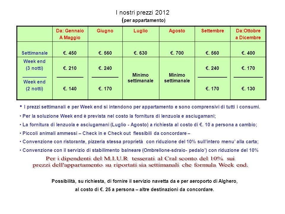 I nostri prezzi 2012 ( per appartamento) Da: Gennaio A Maggio GiugnoLuglioAgostoSettembreDa:Ottobre a Dicembre Settimanale.