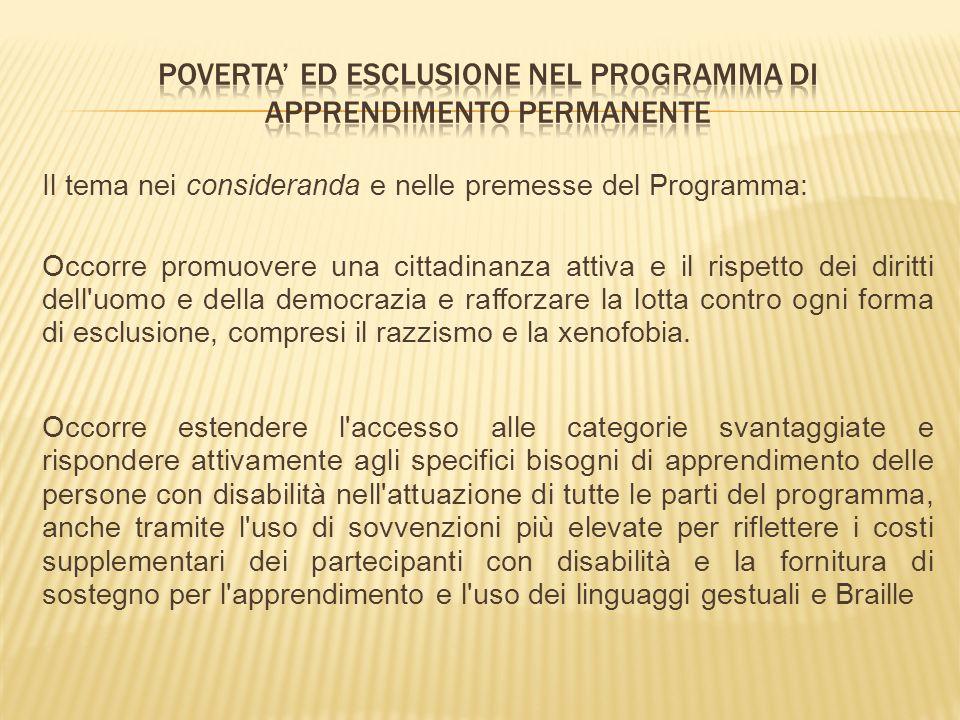 Il tema nei consideranda e nelle premesse del Programma: Occorre promuovere una cittadinanza attiva e il rispetto dei diritti dell'uomo e della democr
