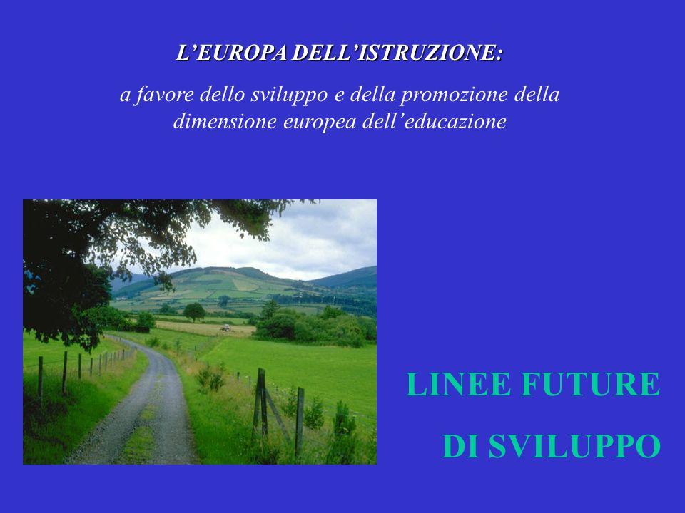 LEUROPA DELLISTRUZIONE: a favore dello sviluppo e della promozione della dimensione europea delleducazione LINEE FUTURE DI SVILUPPO