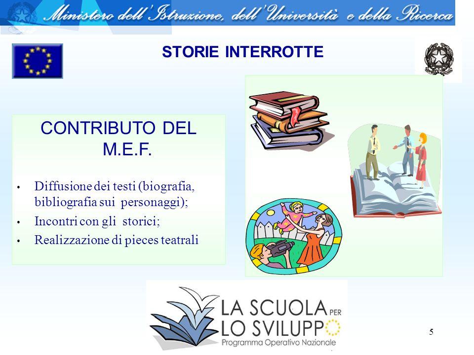 6 STORIE INTERROTTE CONTRIBUTO DEL M.E.F.