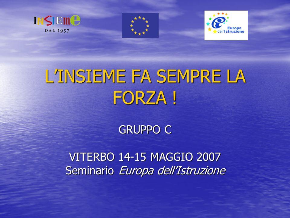 LINSIEME FA SEMPRE LA FORZA ! GRUPPO C VITERBO 14-15 MAGGIO 2007 Seminario Europa dellIstruzione