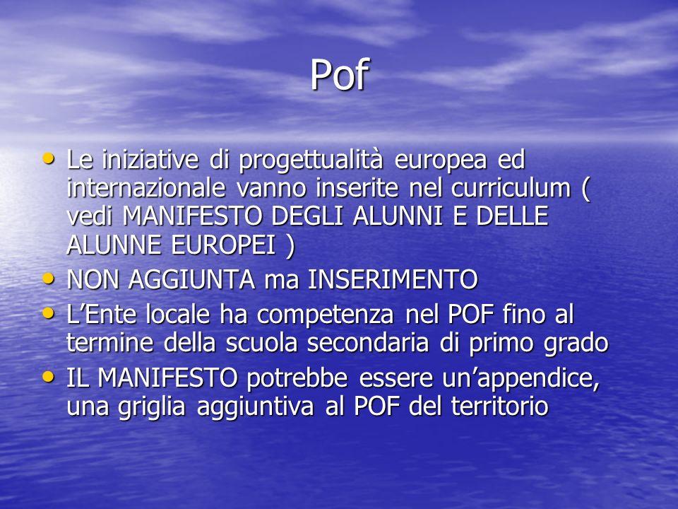Pof Le iniziative di progettualità europea ed internazionale vanno inserite nel curriculum ( vedi MANIFESTO DEGLI ALUNNI E DELLE ALUNNE EUROPEI ) Le iniziative di progettualità europea ed internazionale vanno inserite nel curriculum ( vedi MANIFESTO DEGLI ALUNNI E DELLE ALUNNE EUROPEI ) NON AGGIUNTA ma INSERIMENTO NON AGGIUNTA ma INSERIMENTO LEnte locale ha competenza nel POF fino al termine della scuola secondaria di primo grado LEnte locale ha competenza nel POF fino al termine della scuola secondaria di primo grado IL MANIFESTO potrebbe essere unappendice, una griglia aggiuntiva al POF del territorio IL MANIFESTO potrebbe essere unappendice, una griglia aggiuntiva al POF del territorio