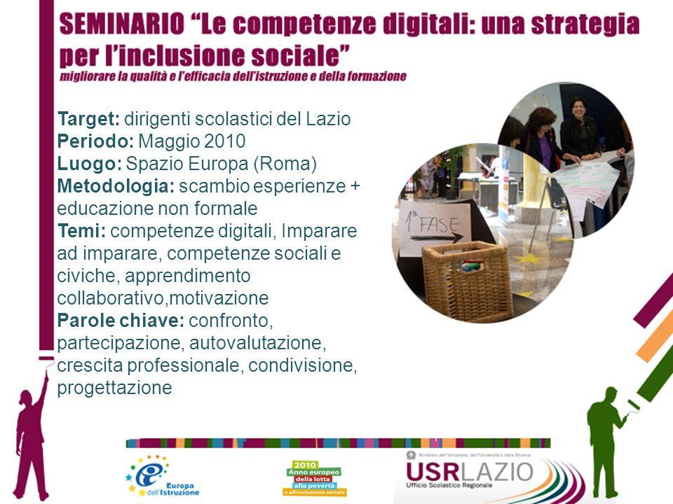 Target: dirigenti scolastici del Lazio Periodo: Maggio 2010 Luogo: Spazio Europa (Roma) Metodologia: scambio esperienze + educazione non formale Temi: