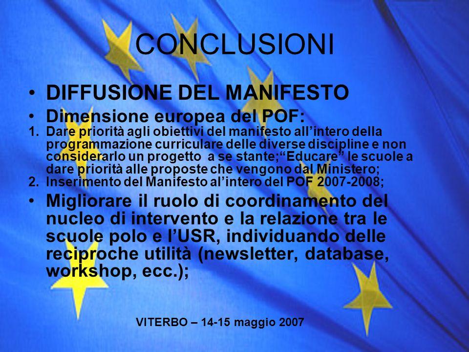 CONCLUSIONI DIFFUSIONE DEL MANIFESTO Dimensione europea del POF: 1.Dare priorità agli obiettivi del manifesto allintero della programmazione curricula