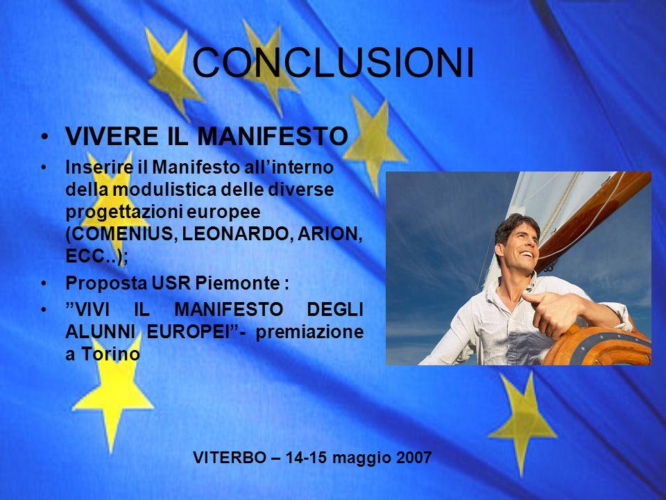 CONCLUSIONI VIVERE IL MANIFESTO Inserire il Manifesto allinterno della modulistica delle diverse progettazioni europee (COMENIUS, LEONARDO, ARION, ECC
