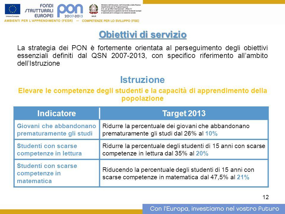 12 Obiettivi di servizio La strategia dei PON è fortemente orientata al perseguimento degli obiettivi essenziali definiti dal QSN 2007-2013, con speci