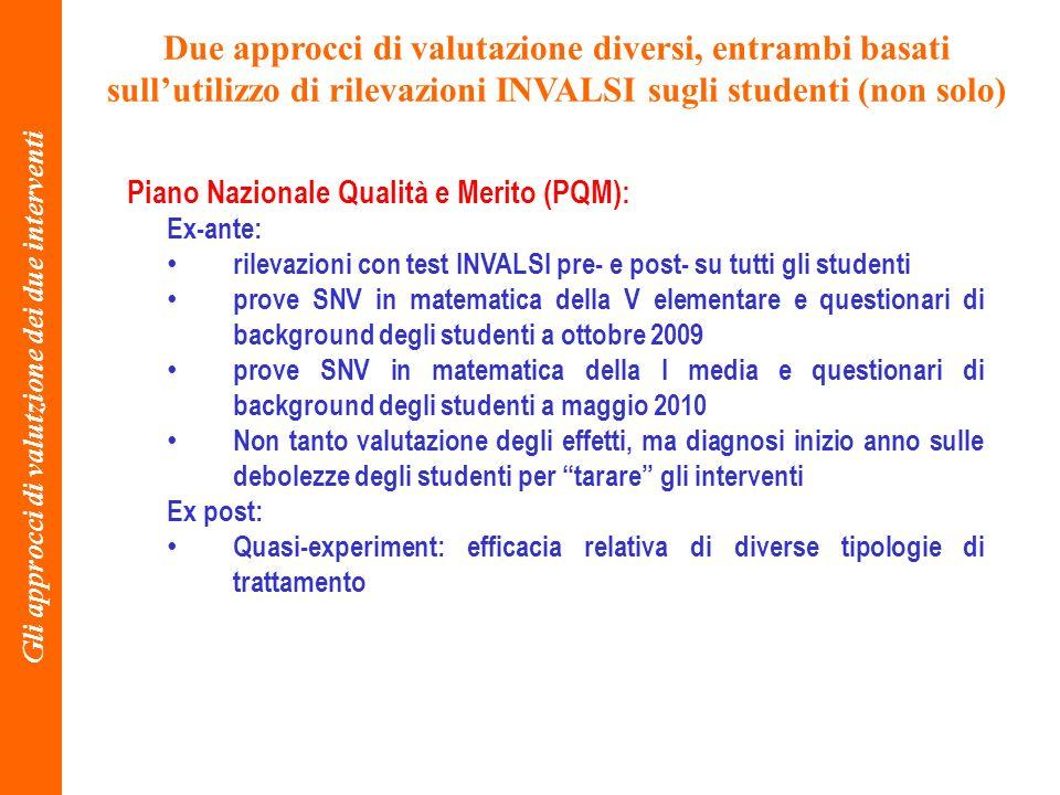 Due approcci di valutazione diversi, entrambi basati sullutilizzo di rilevazioni INVALSI sugli studenti (non solo) Gli approcci di valutzione dei due