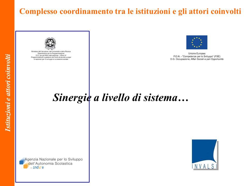 Complesso coordinamento tra le istituzioni e gli attori coinvolti Istituzioni e attori coinvolti Sinergie a livello di sistema…